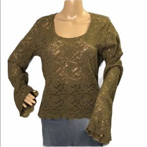 Forenza Sheer Lace Top With Long Wide Sleeves L